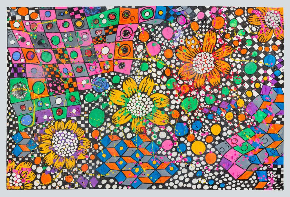 Flores Solares del páramo,  Ana Fernández  Collage gouache y tinta sobre papel calado 150 x106 cm 2012