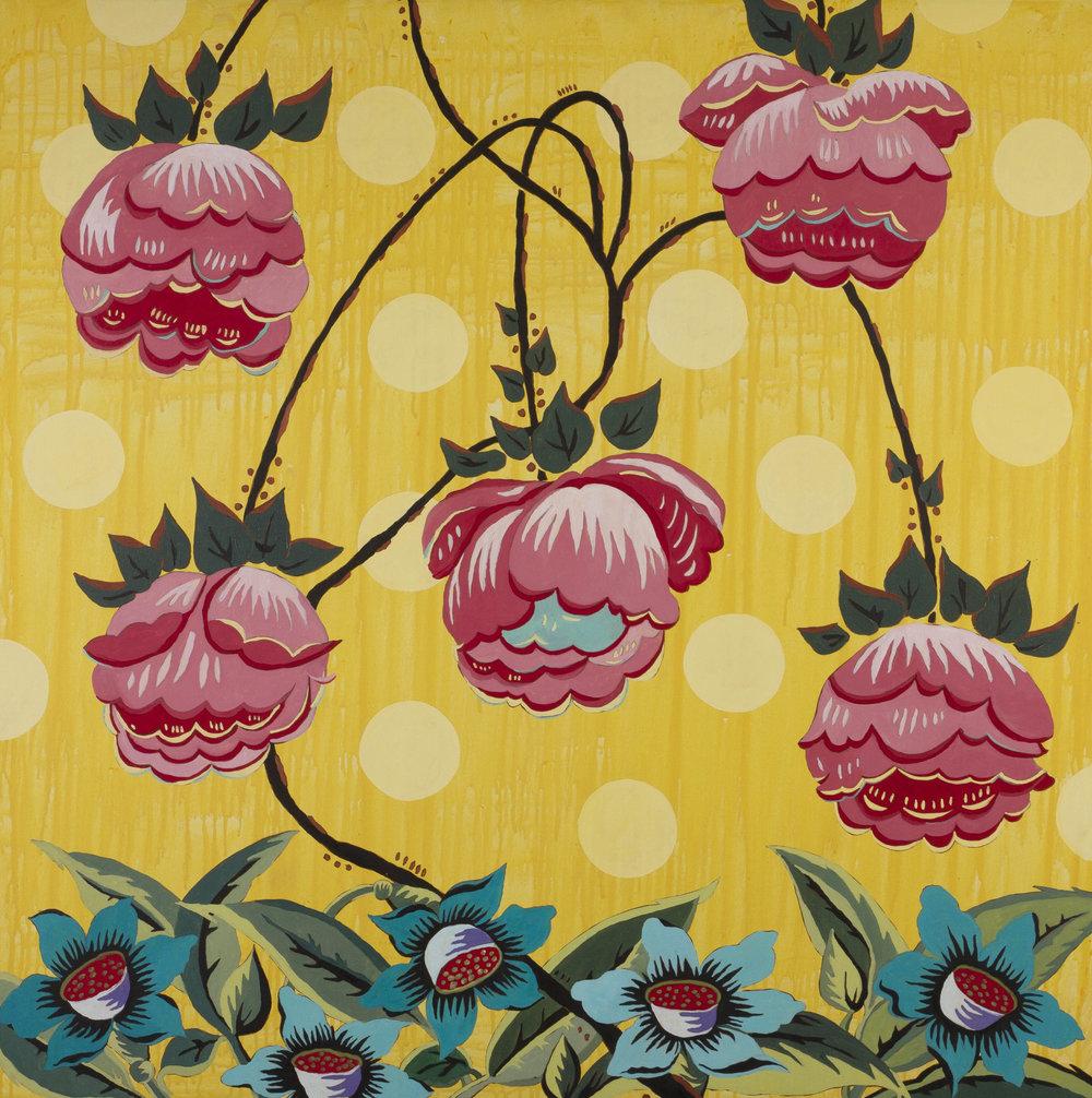 Amarillo con rosado y turquesa (De la serie Blumenmuster)  Pamela Hurtado Óleo sobre lienzo 120 x 120 cm  2010