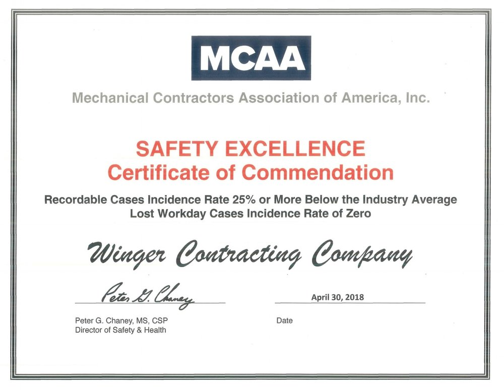 The Mechanical Contractors Association of America, Inc. awarded Winger Companies with the SAFETY EXCELLENCE Certificate of Commendation for a Recordable Cases Incidence Rate 25% or More Below the Industry Average and a Lost Workday Cases Incidence Rate of Zero.