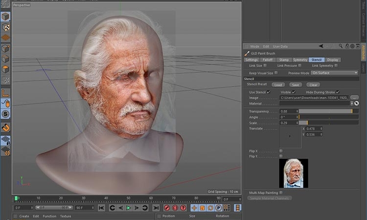 4D Paint - Paint stencils and stamps directly onto your models using all the symmetry options. UDIM support, advanced material management, texturing tools, custom layer view and more…