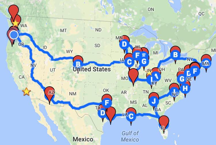 Our tour route this summer