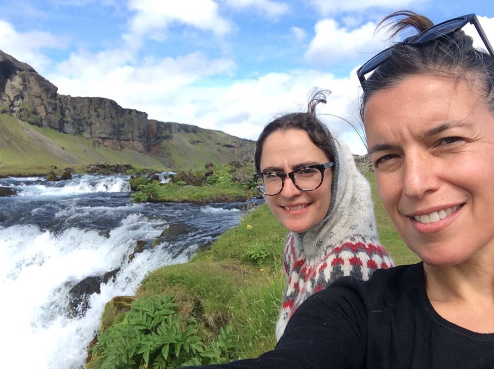Southern Iceland (just off the Ring Road) with researchers Maggie Siebert (left) and Tema Milstein.