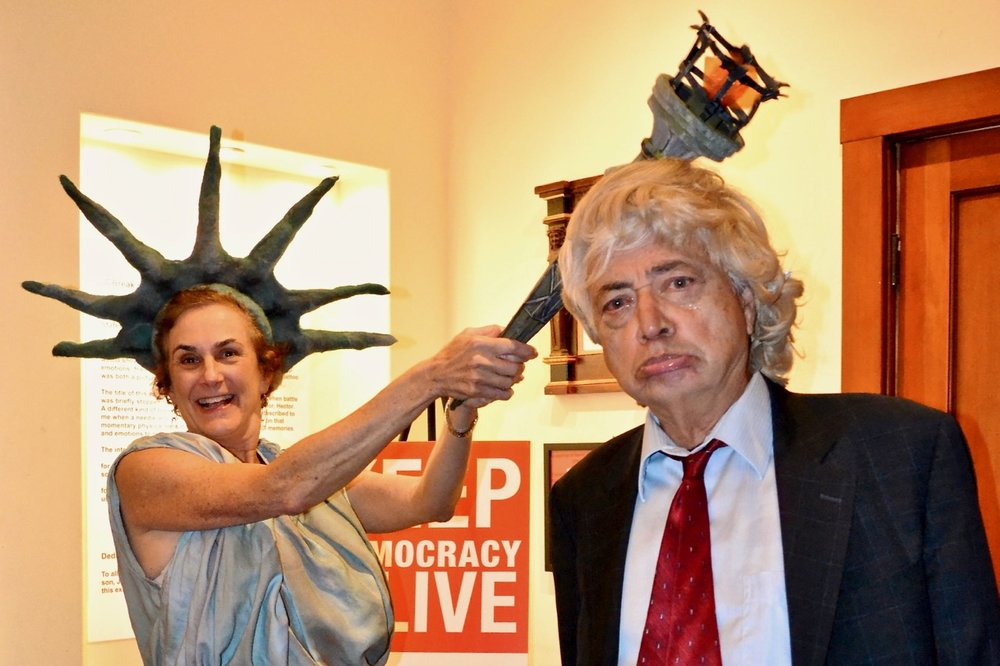 MVCAN leaders June Cooperman and Bernard Catalinotto impersonate Lady Liberty and Mister Trump at the MVCAN-Do-Revue. Photo by Suz Lipman.