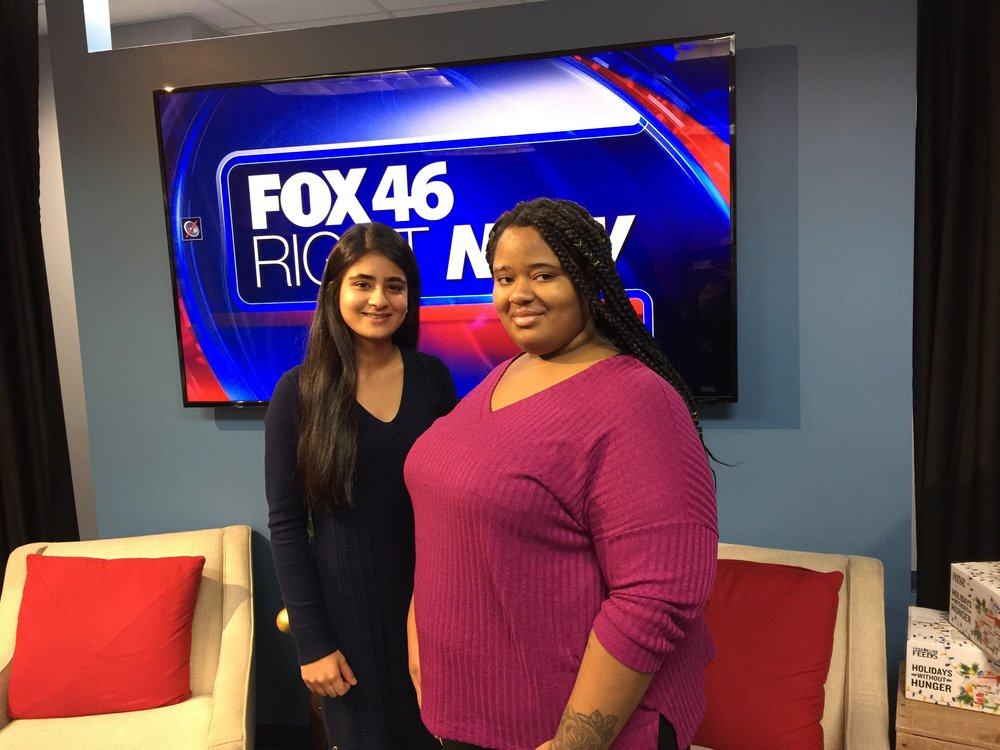 Shreya Mantha and Diamond at a FOX News interview to discuss the work of Foundation For Girls.