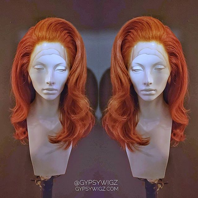❣️💘Valentine Vixen💘❣️ Perfect for when you answer the door in your nightie 😉 Custom ginger human hair lace front wig for @farrahrized .  #gypsywigz #idohair #customwig #customhairline  #valentinesday #glam #redhair
