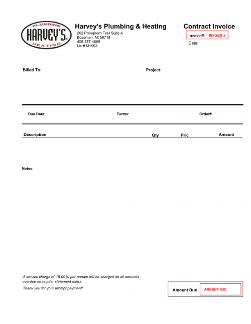 Example Invoice. Information needed to pay your bill is in red. The service technician tool may produce a different image than the one above. In this case, look for your invoice number and amount due and continue following the steps below. Any questions can be directed towards Harvey's Service Department.