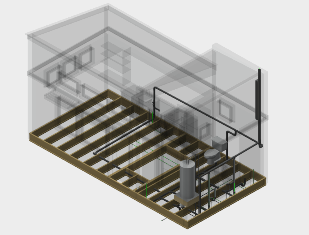 TINY HOME PREFABRICATED PLUMBING SYSTEMS - Plumbing Design for custom Tiny Homes. Provides a plumbing diagram of all systems for custom multiple layout configurations. The plumbing systems can be prefabricated off-site within the modules and transported to site for full design to fabrication installation.
