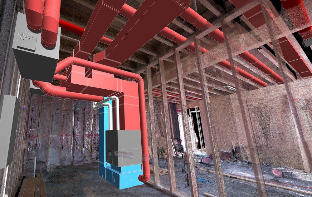 Mechanical Room Layout & Coordination - Laser scanned as-built documentation for optimal mechanical design.