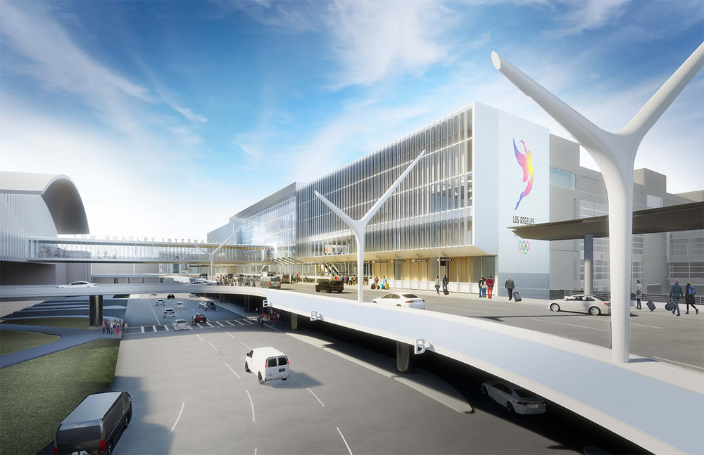 Conceptual rendering of Tom Bradley International Terminal's Terminal Core. The new walkway allows direct and easy transit from the APM station into the terminal.