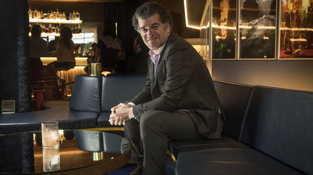Paul Solomon, owner of Sam First Bar, sits in his new jazz club located steps from LAX. (Nick Agro / For The Times)