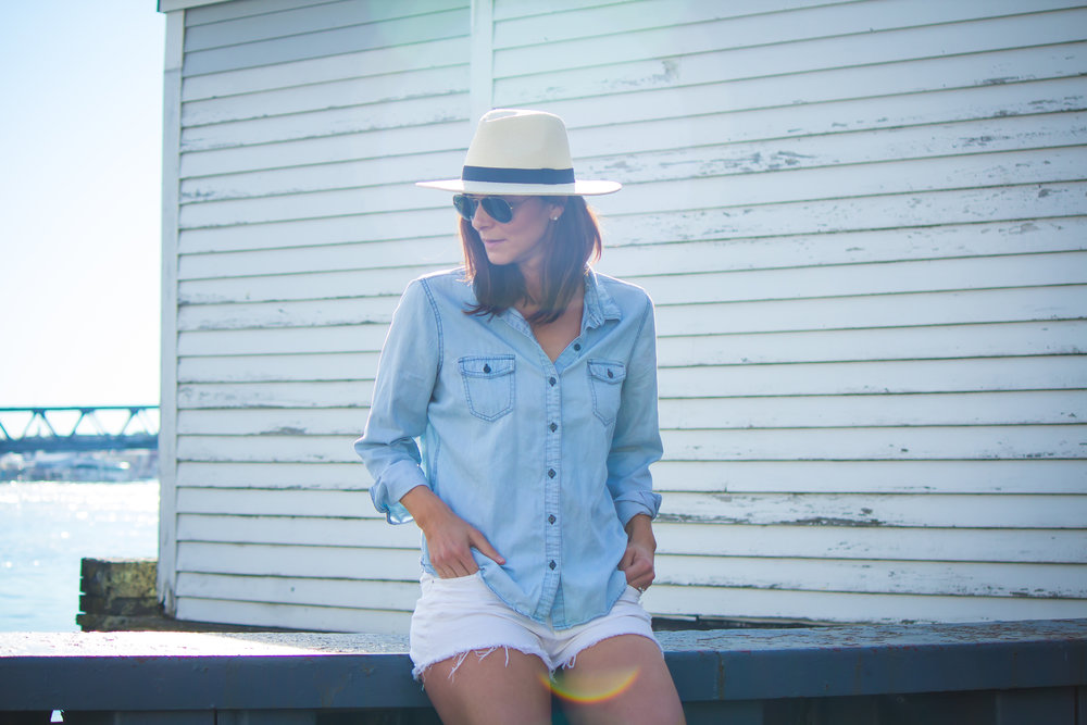 Panama hat outfits summer - Panama hat outfits - Panama hat outfits women- Chambray shirt outfits - Chambray shirt - Fashion for Women - #panamahat #chambrayshirt #heartandseam  www.heartandseam.com
