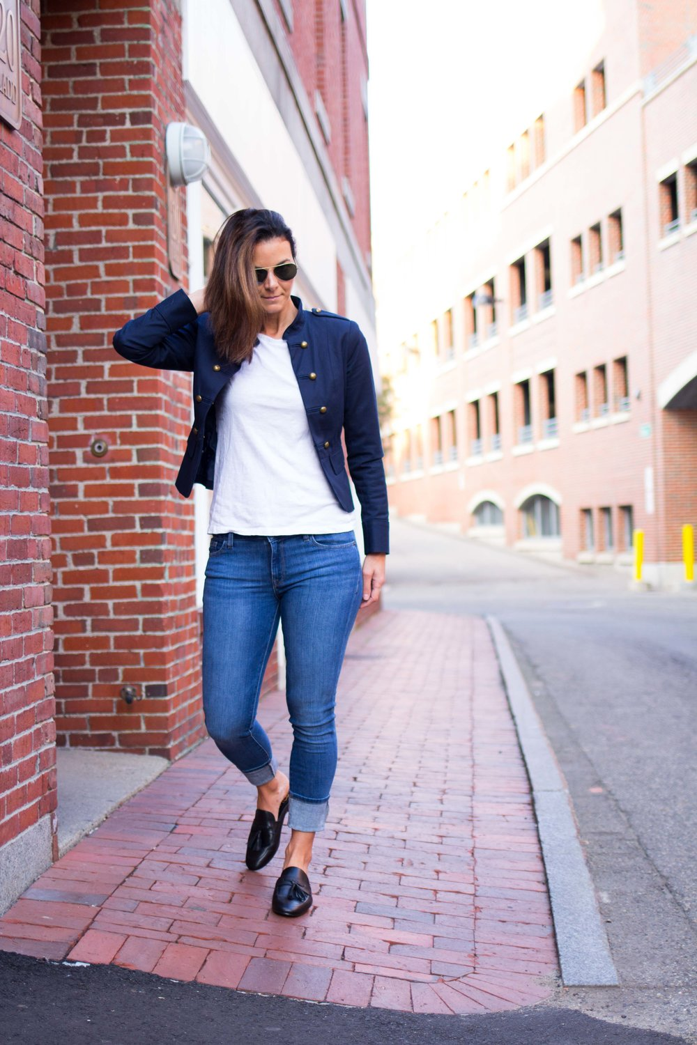 Fall  Outfits – Military Jacket Outfit – Spring Outfit – Casual Outfits – Casual Friday Outfit – Weekend Outfits - Fashion for Women – Tassel Loafer Mules -  heartandseam.com  #heartandseam #militaryjacket