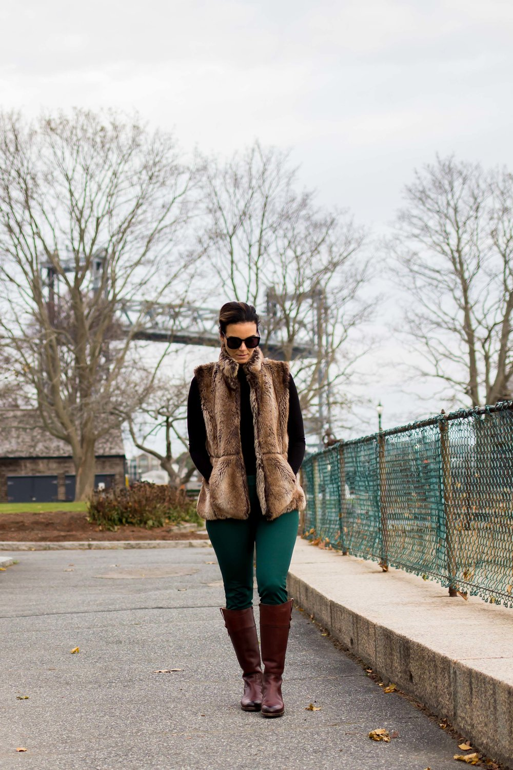 Fall Outfits – Fur Vest Outfit – Faux Fur Outfit – Casual Outfits – Frye Boots Outfit – Weekend Outfits - Fashion for Women –  heartandseam.com  #heartandseam #fryeboots #fauxfur