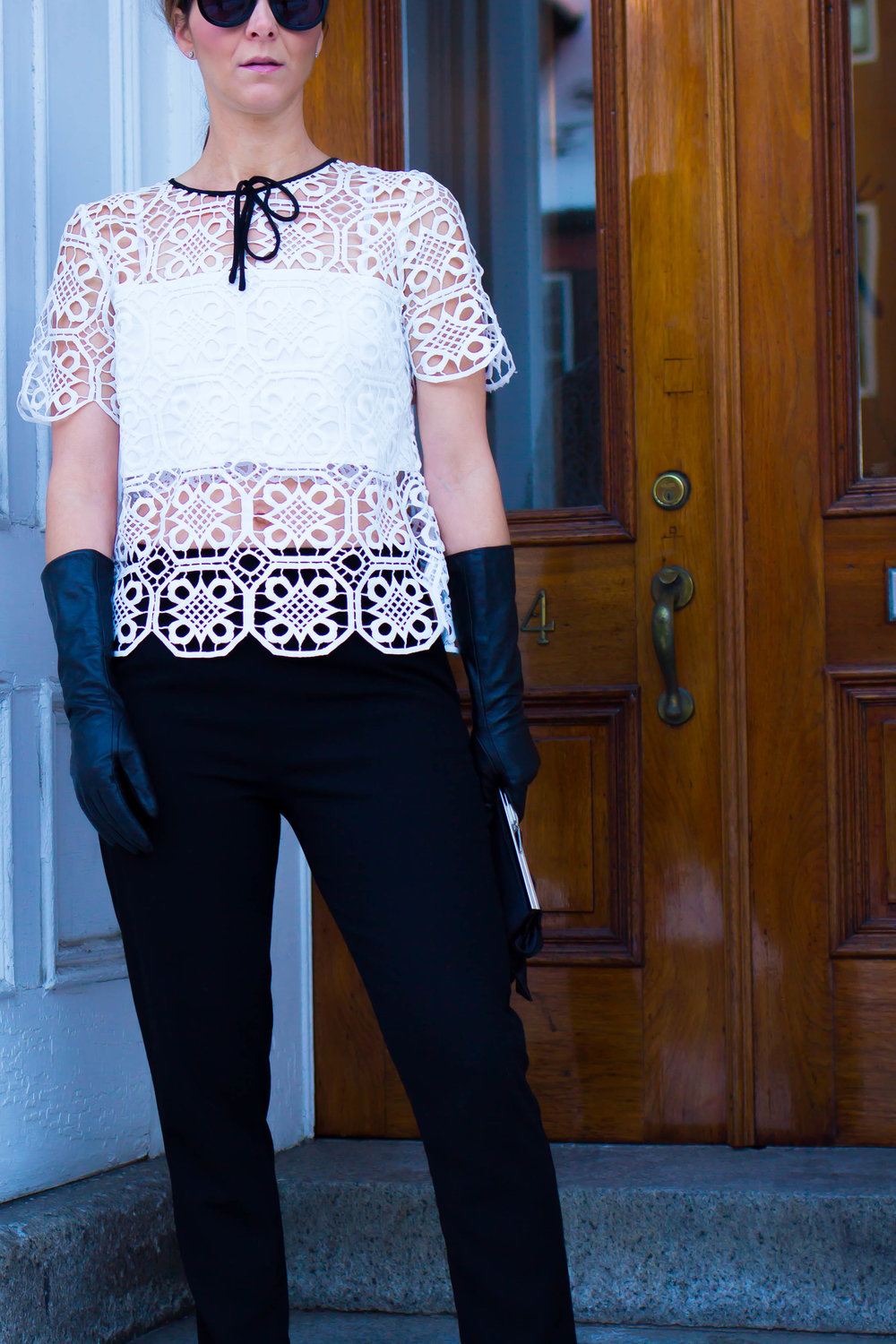 Work Wear Outfits - Casual Outfits - Weekend Outfits - Date Night Outfit - Long Leather Glove Outfits - White Crochet Top Outfits - Black and White Outfit Ideas- Fashion for Women -  heartandseam.com  #heartandseam