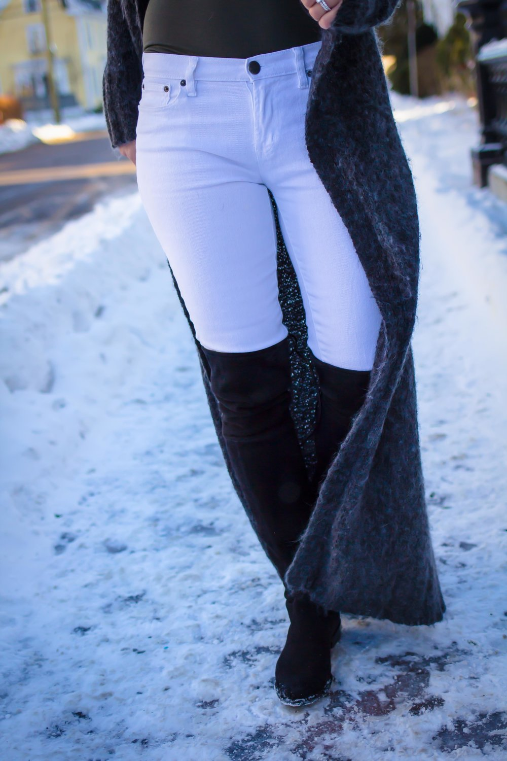 Casual Friday Outfits - Casual Work Outfits - Casual Weekend Outfits - OTK Boots Outfit - White Denim Outfits - Winter White Outfits - Fashion for Women -  heartandseam.com  #heartandseam