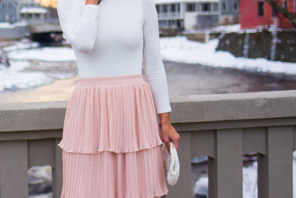 Midi Skirt Outfits - Tiered Skirt Outfits -Ruffle Midi Skirt Outfits - Nude Skirt Outfits - Blush Skirt Outfits - Fashion for Women -  heartandseam.com  #heartandseam