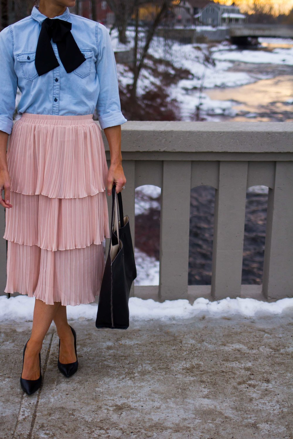 Midi Skirt Outfits - Tiered Skirt Outfits -Ruffle Midi Skirt Outfits - Nude Skirt Outfits - Blush Skirt Outfits - Bow Tie for Women - Bow Tie - Chambray Shirt Outfits - Work Outfits for Women - Fashion for Women -  heartandseam.com  #heartandseam