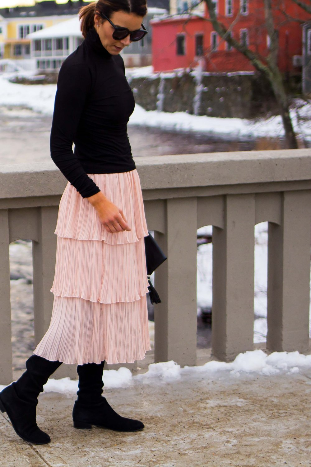 Midi Skirt Outfits - Tiered Skirt Outfits -Ruffle Midi Skirt Outfits - Nude Skirt Outfits - Blush Skirt Outfits - Weekend Outfits - Casual Outfits for Women - OTK Boot Outfits - Over the Knee Boot Outfits - Work Outfits for Women - Fashion for Women -  heartandseam.com  #heartandseam