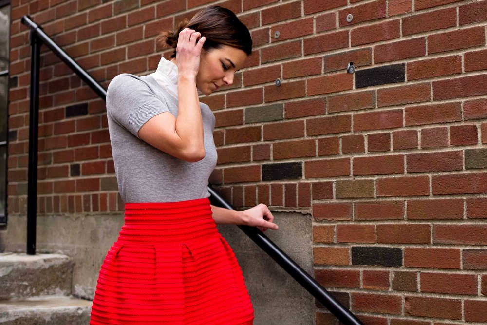 Valentines Day Outfits - Date Night Outfits -Fashion for Women - Hunter Boots Outfit - Red skirt Outfit - Style Outfits - Fashion Ideas  heartandseam.com #heartandseam