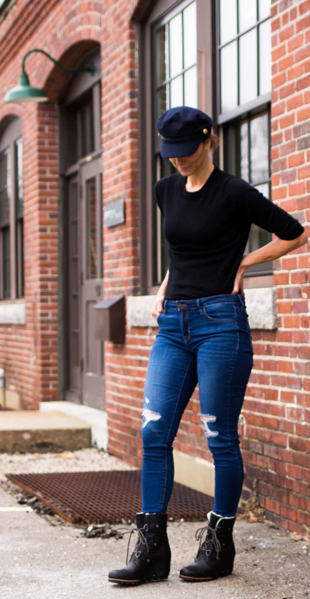 Casual Friday Outfits - Weekend Outfits -Fashion for Women - Sorel Boots - Captain's Cap - Weekend Wear  heartandseam.com  #heartandseam
