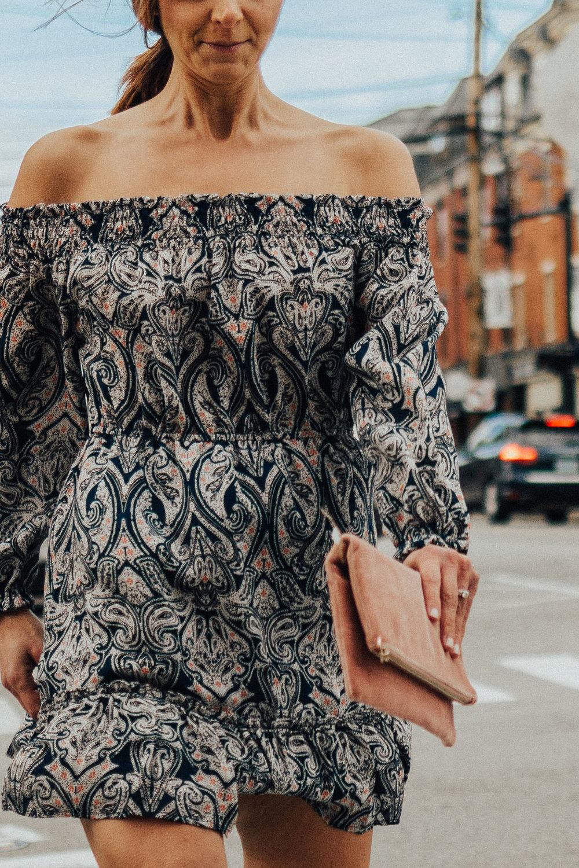 Spring Outfits – Spring Dresses – Paisley Print Dresses – Off-the-shoulder Dresses for Spring- Fashion for Women –heartandseam.com #heartandseam #cupcakesandcashmere