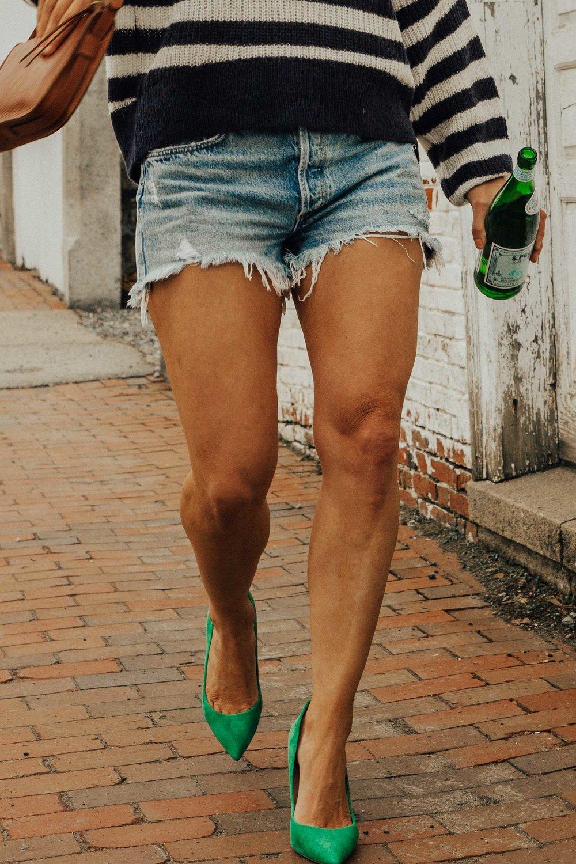 Denim shorts - Summer Outfit Ideas - Summer Fashion for Women - Green Heels Outfit - Denim Shorts Outfit - Navy Striped and Denim Shorts Outfit Ideas -  www.heartandseam.com  - #heartandseam