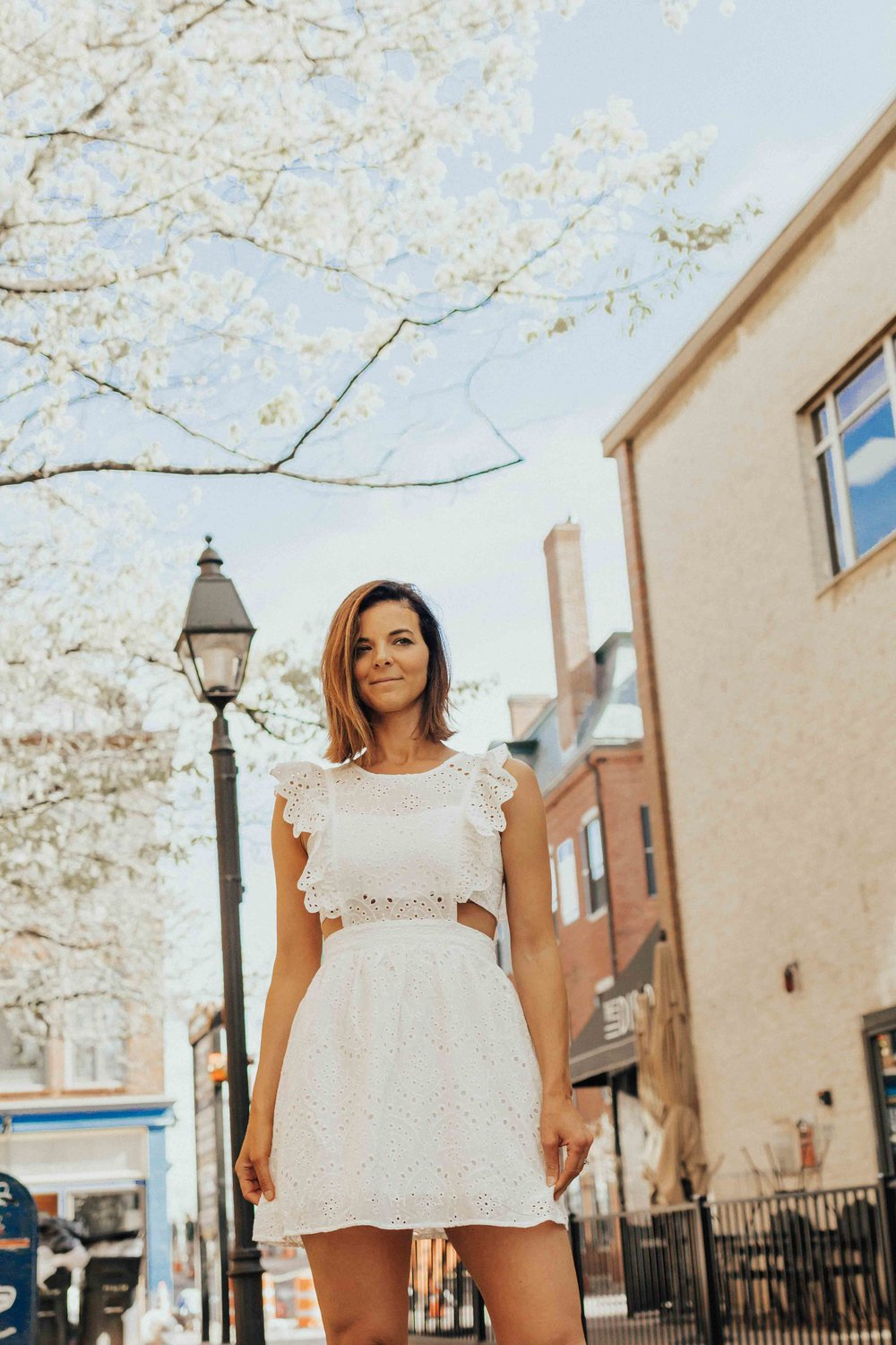 OUTFIT DETAILS - WHITE LACE APRON DRESSNUDE HEELS