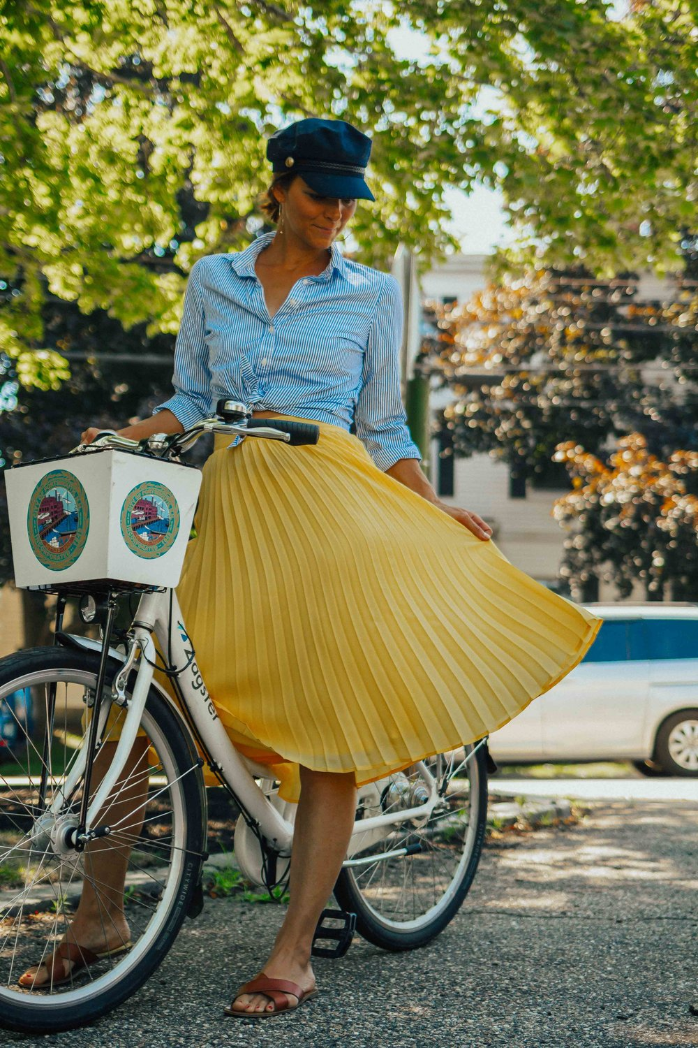 Summer Outfit Ideas – Yellow Midi Skirt Outfits – Yellow Pleated Skirt Outfit Ideas – Datenight Outfit Ideas – Midi Skirt Outfits - Captain's Cap Outfits – 5 Ways to Make the Most of Your Weekend - #yellowpleatedskirt #summeroutfits #weekends #heartandseam  www.heartandseam.com