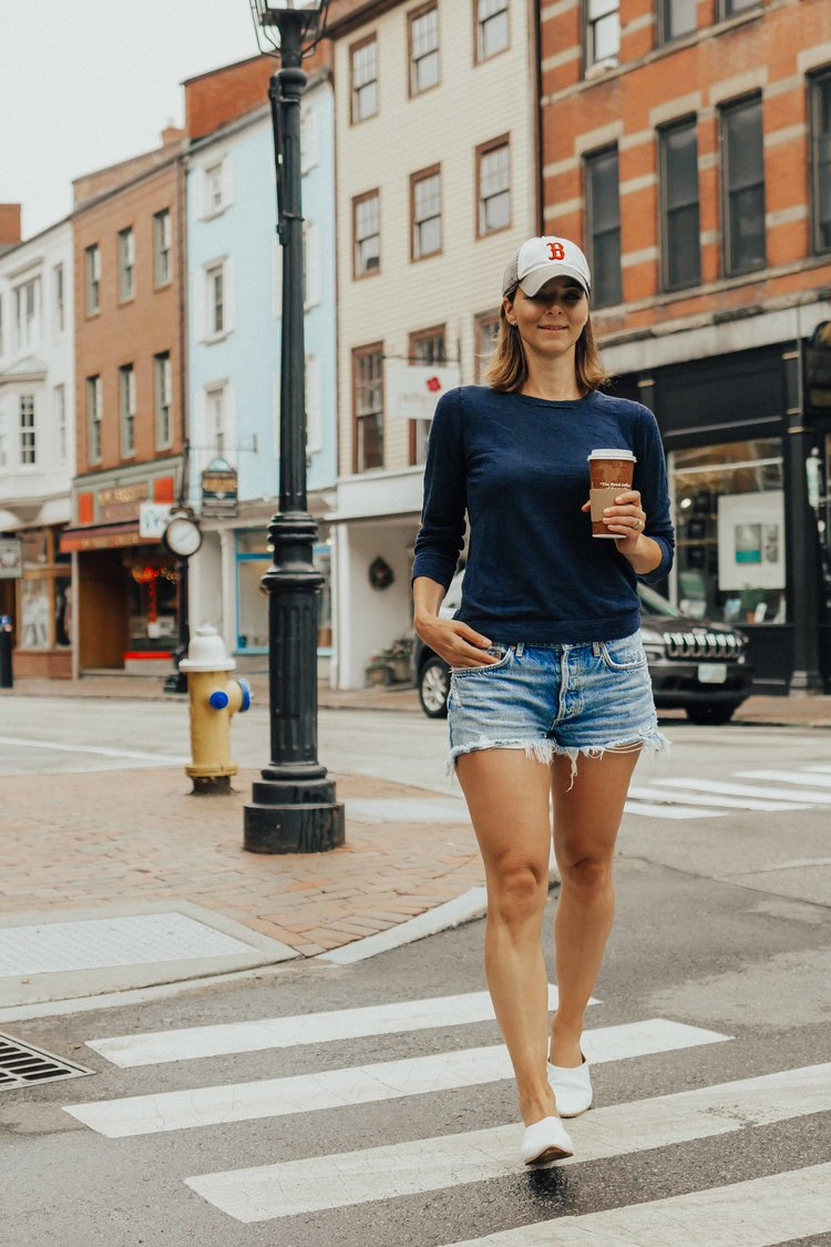 fd8cc6ea6cf2 Being Spontaneous – Creating Positive Moments- Casual Outfit Ideas – Denim  Shorts Outfits – White