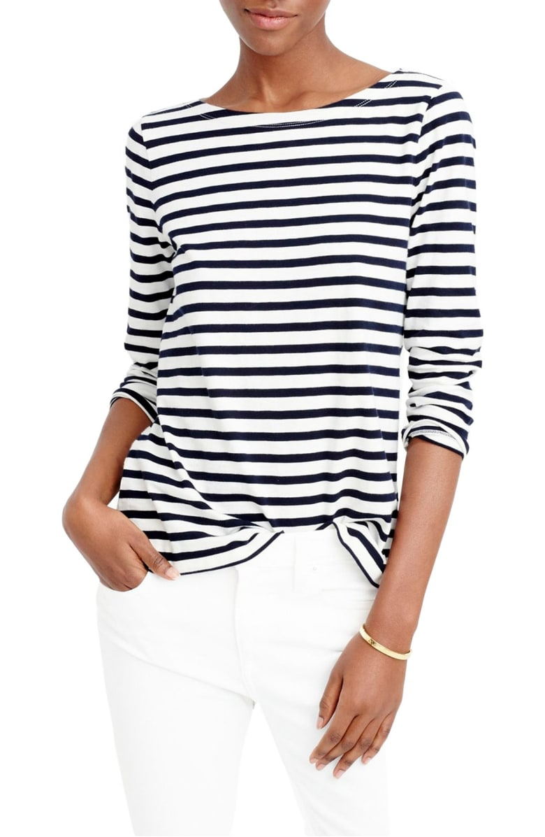 STRIPED BOAT NECK TEE