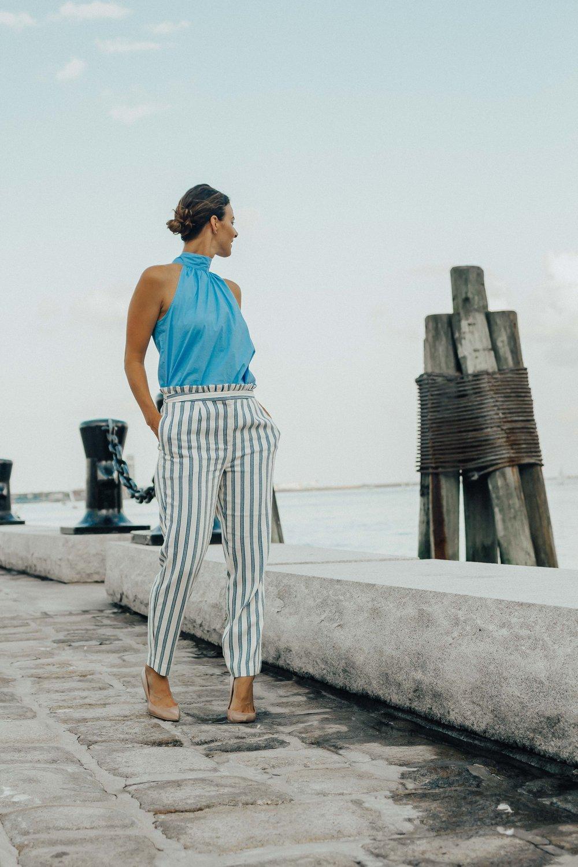 Outfit Details - STRIPED PANTSTIE NECK TANK TOPNUDE HEELS