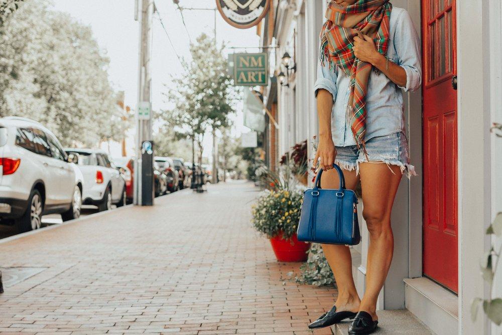 Plaid Scarf Outfit Fall   Plaid Scarf Outfit   Fall Outfits   Blue Bag Outfit   Handbag Trends 2018   Fall Outfits Ideas   Blanket Scarf Outfits   Fall Outfit Ideas   Fall Fashion   Fall Trends #falltrends #heartandseam www.heartandseam.com