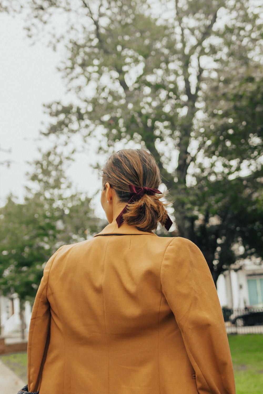 Camel Blazer Style – Camel Blazer Outfit Idea – Camel Blazer Outfit – Women's Camel Blazer Outfit – Camel Blazer and Striped Shirt Outfit – Fall Outfit – Blazer Outfit - #camelblazer #jcrew #heartandseam www.heartandseam.com