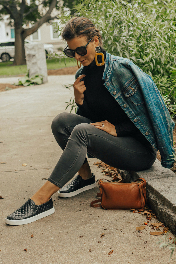 Casual Outfit Ideas – Fall Outfit Idea – Yellow Statement Earrings Outfit – Denim Jacket Outfit – Casual Fall Outfit Idea- Slip-On Shoe Outfit – Sam Edelman Shoe Outfit – Denim Jacket – Statement Earrings - #casualoutfits #falloutfit #denimjacket #heartandseam www.heartandseam.com