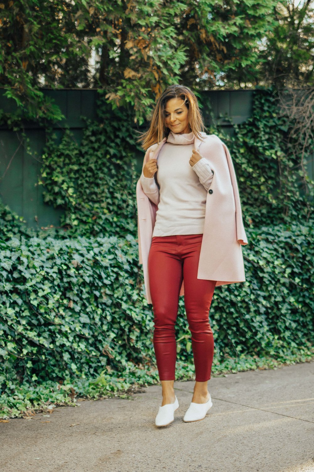 SHOP THE LOOK - PINK COATPINK TURTLE NECK SWEATER (similar)BURGUNDY PANTS (similar)WHITE FLATS