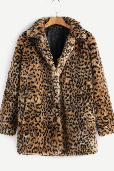 LEOPARD FAUX FUR COAT -