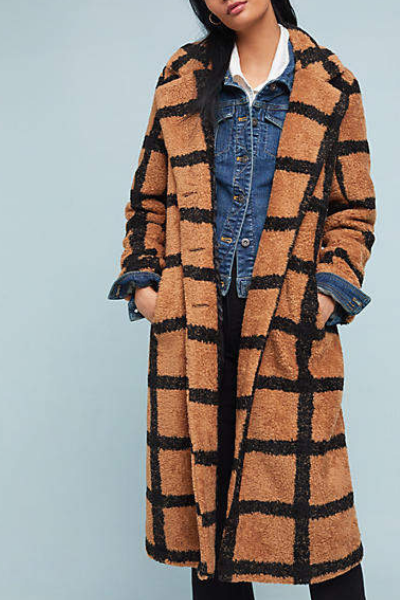 BERBER-CHECKED COAT -