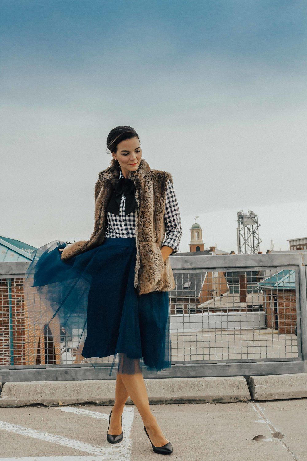 SHOP THE LOOK - TULLE SKIRT (similar here & here)FAUX FUR VEST (similar)GINGHAM SHIRTOVER-SIZED BOW TIE (similar)HEELSLIP COLOR
