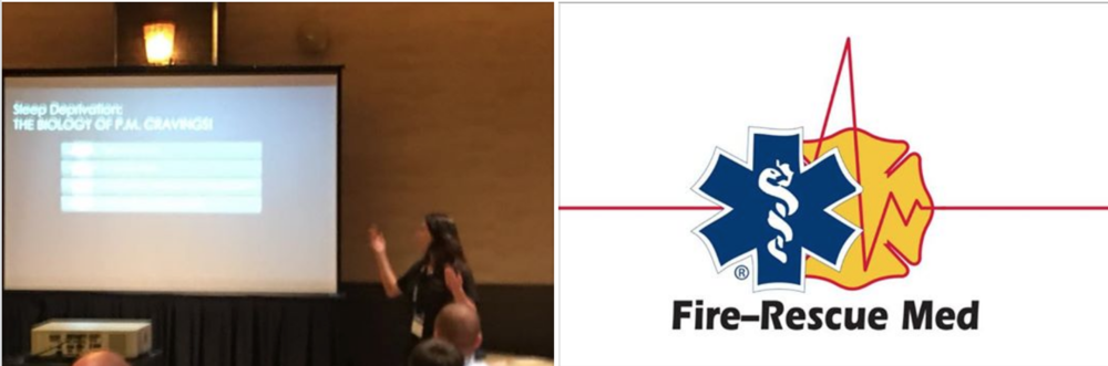 Founder of the First Responder Sleep Recovery, Jacqueline Toomey teaching at the IAFC Fire-Rescue Med conference in Henderson, NV 2018.