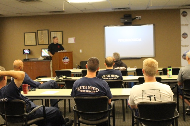 Firefighter & Fire Science Instructor Sean Toomey, Co-Founder of the First Responder Sleep Recovery Program, presenting the topic on how chronic sleep loss leads to psychological problems and suicide at South Metro Fire Rescue.