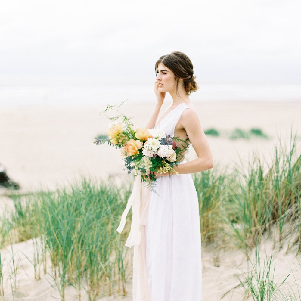 Feminine Fine Art Bridal Editorial Shoot at Manzanita Beach -