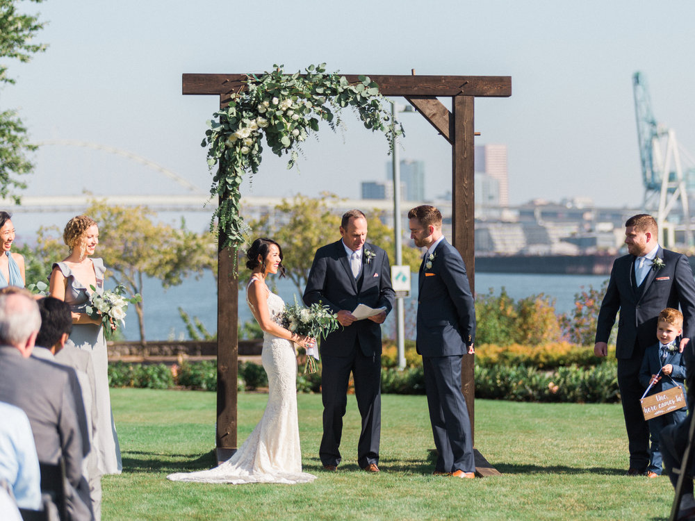 A Portland riverfront wedding venue's ceremony location