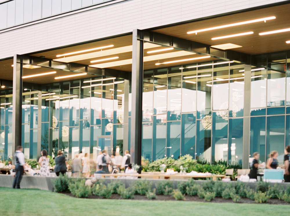 A wedding reception space at a new riverfront venue in Portland, OR