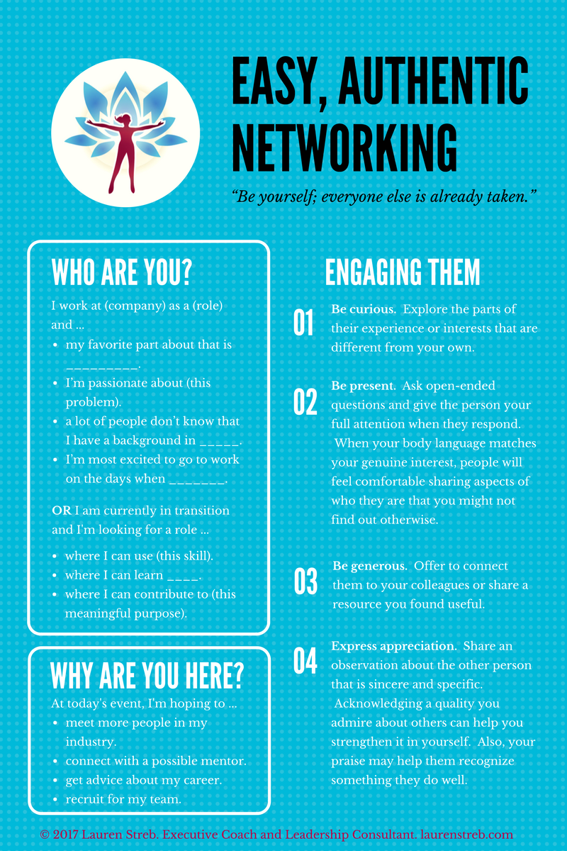Free Script for Easy, Authentic Networking Conversations - Okay, connecting with our deeper motivation is great but sometimes we just want to know what to say. I have created a script template that will support you to introduce yourself, be seen for who you are, and enjoy engaging the other person during networking discussions.