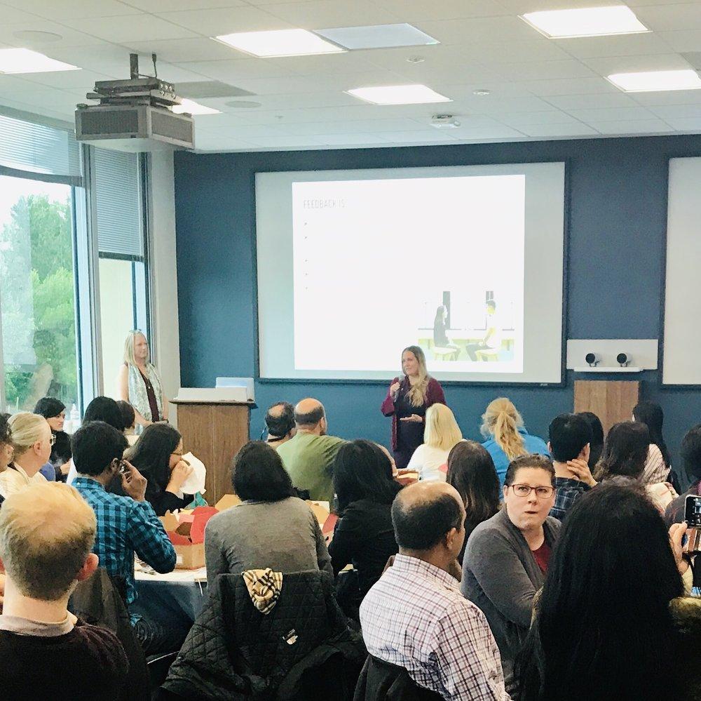 Presenting a feedback workshop at Genentech with keady phelan (South San Francisco, CA)