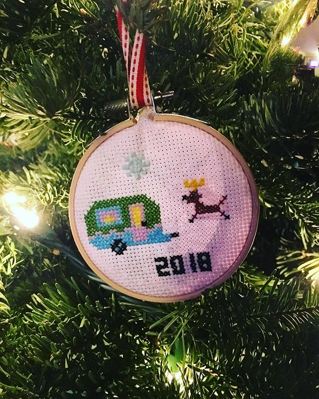 My talented brother & sis-in-law cross-stitched this for me! #socute #burstwithjoy #rvftaornament