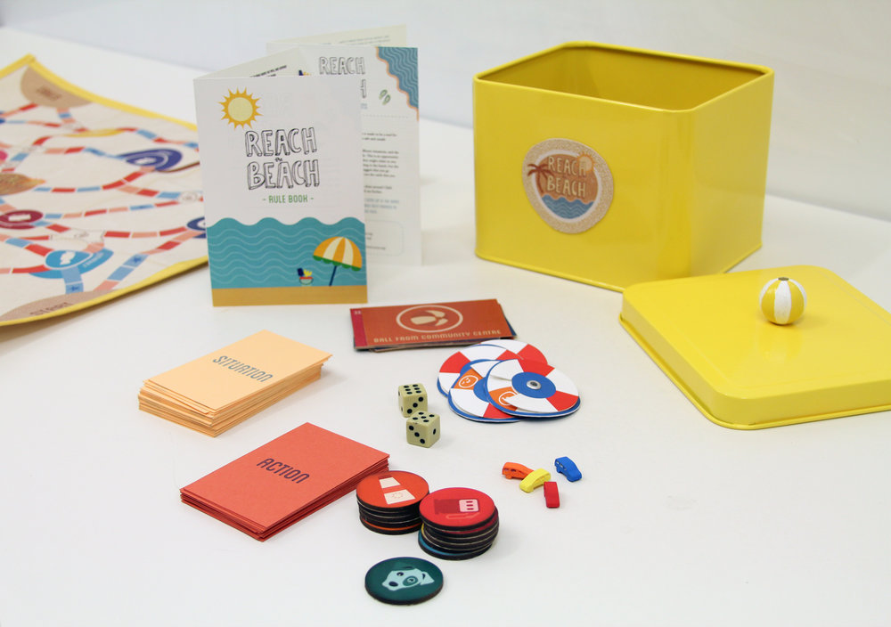 The game includes a Rule Book, situation and action cards, a soft board, dice, reaction cards, tokens and figures. They all come in a metallic box that families can take anywhere they go!