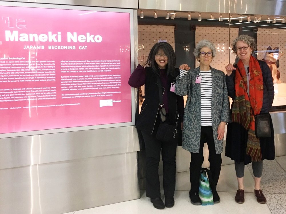 Maneki Neko  exhibition at SFO Airport Museum. Pictured: C.K.Itamura, Alyson Kuhn and Linda Smith. Photo by Belinda Li.
