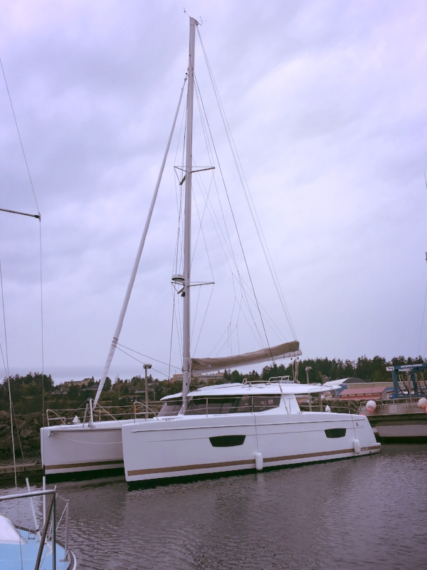 Julia after her mast was stepped at Boat Haven in Port Townsend