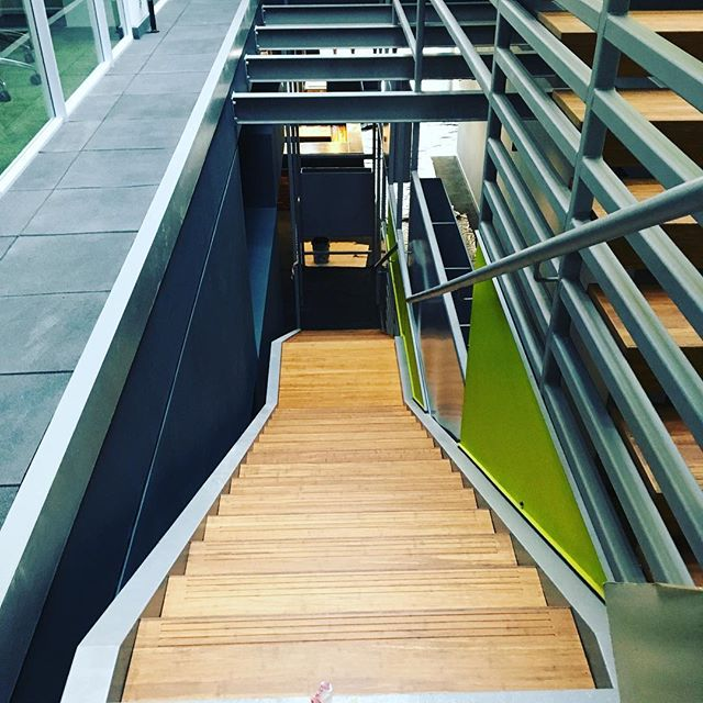 He is finally there! Our internal staircase 🎉 #opensandton . . . #openworkspaces #cowork #construction #coworkingspace #coworklife #building #wood #members